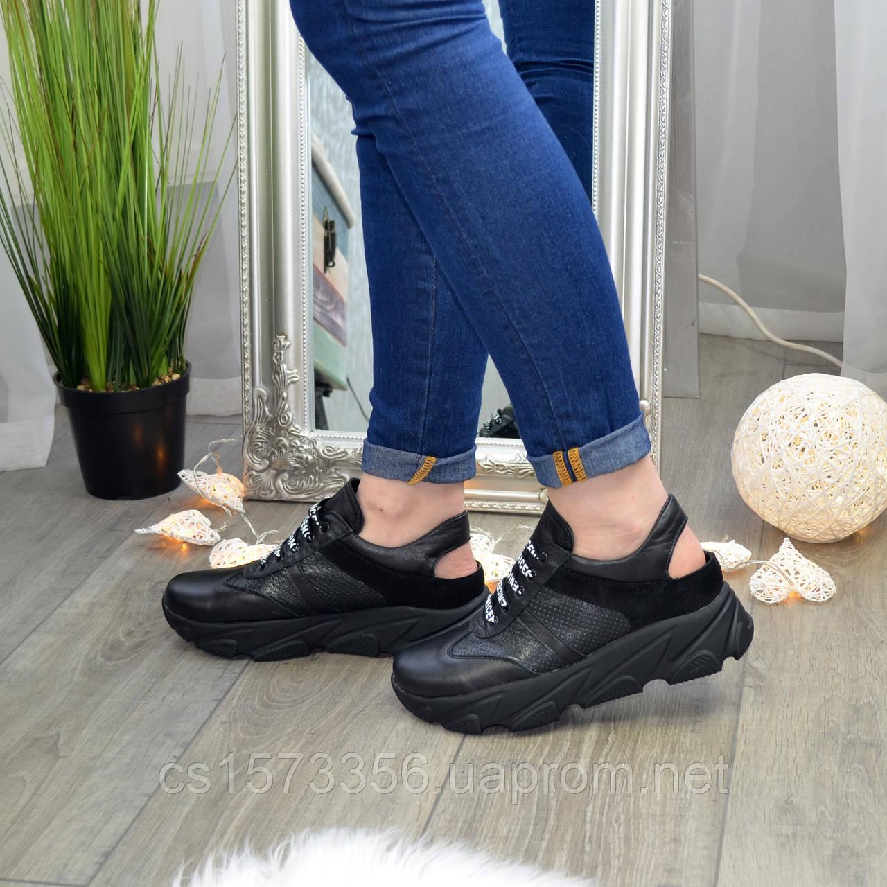 Кроссовки женские черные кожаные на шнуровке с открытой пяткой