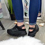Кроссовки женские черные кожаные на шнуровке с открытой пяткой, фото 2