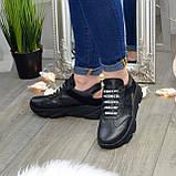 Кроссовки женские черные кожаные на шнуровке с открытой пяткой, фото 3