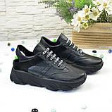 Кроссовки женские черные кожаные на шнуровке с открытой пяткой, фото 4