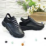Кроссовки женские черные кожаные на шнуровке с открытой пяткой, фото 5