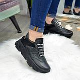 Кроссовки женские черные кожаные на шнуровке с открытой пяткой, фото 6