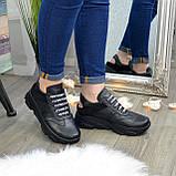 Кроссовки женские черные кожаные на шнуровке с открытой пяткой, фото 7