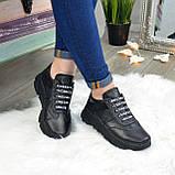 Кроссовки женские черные кожаные на шнуровке с открытой пяткой, фото 8