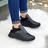 Кроссовки женские черные кожаные на шнуровке с открытой пяткой, фото 9