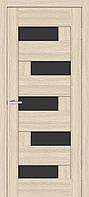 Двері міжкімнатні ОМіС Доміно ПО ЧС дуб білений + чорне скло (ПВХ) модерн (600,700,800,900 мм)