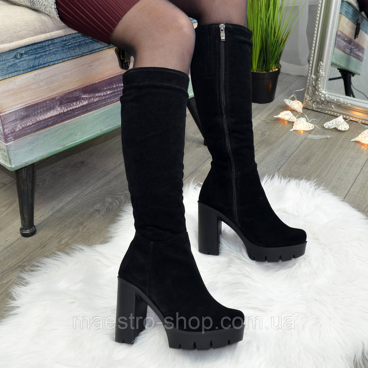Сапоги черные замшевые на высоком каблуке
