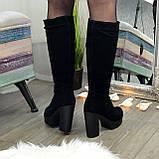 Сапоги черные замшевые на высоком каблуке, фото 2