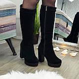 Сапоги черные замшевые на высоком каблуке, фото 3