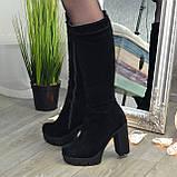 Сапоги черные замшевые на высоком каблуке, фото 4