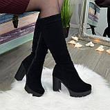 Сапоги черные замшевые на высоком каблуке, фото 5