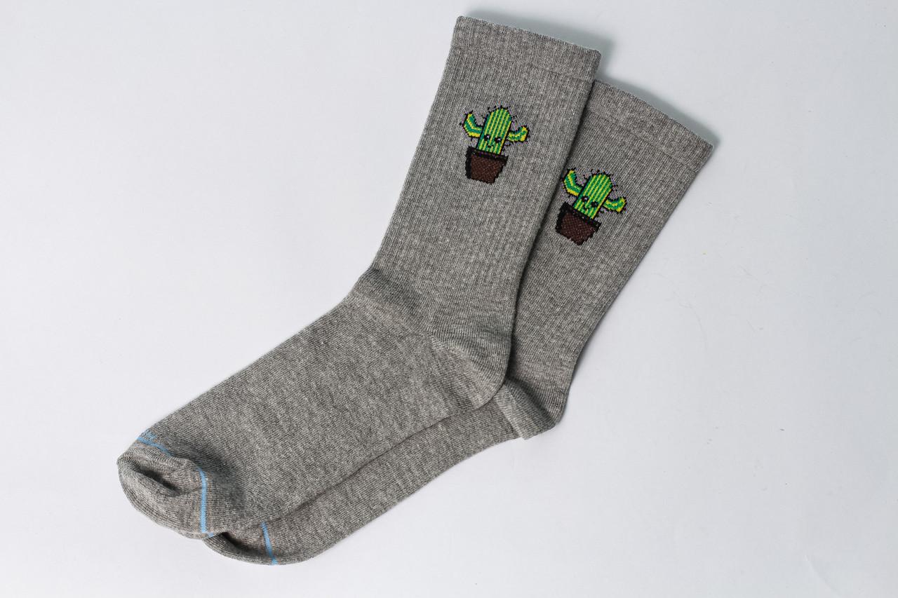 Женские носки LOMM Premium Кактус серые