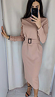 Платье классическое под пояс