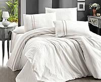 Комплект постільної білизни First Choice Stripe Style Krem сатин сімейний кремовий