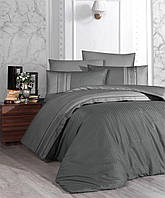 Комплект постельного белья First Choice Square Duet Fume Duman сатин семейный серый