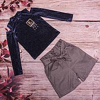 Детский велюровый костюм синего цвета (кофта и шорты) от производителя. Хмельницкий(140)