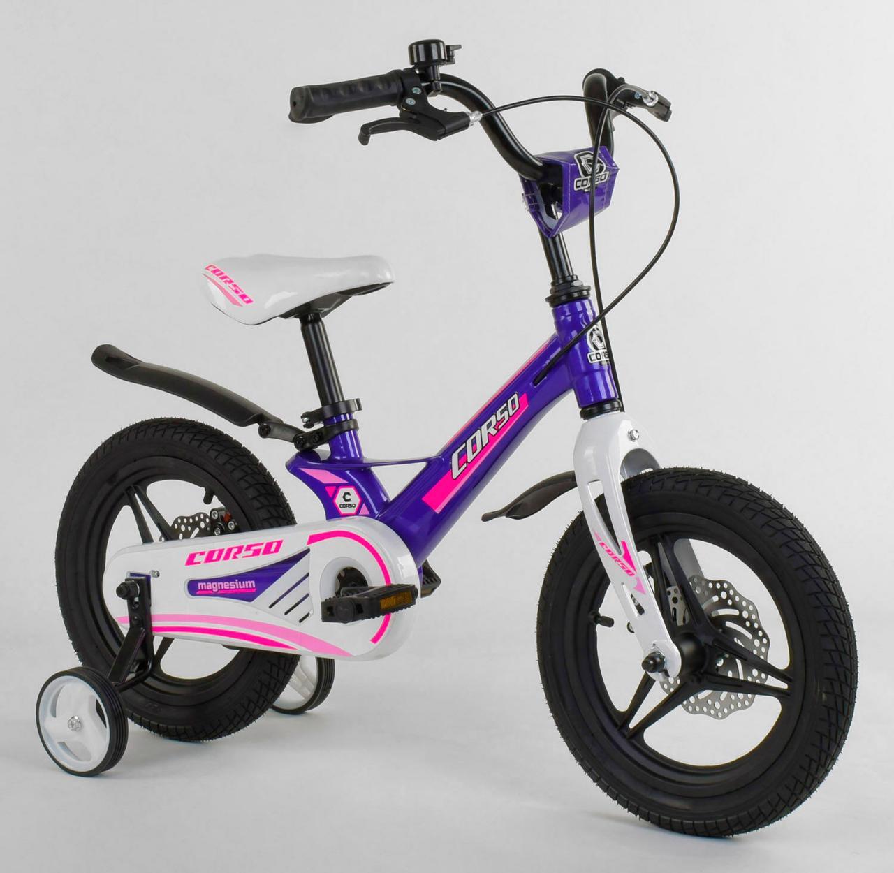 """Велосипед 14"""" дюймов 2-х колёсный """"CORSO"""" MG-77218 Фиолетовый, МАГНИЕВАЯ РАМА, ЛИТЫЕ ДИСКИ, ДИСКОВЫЕ ТОРМОЗА"""