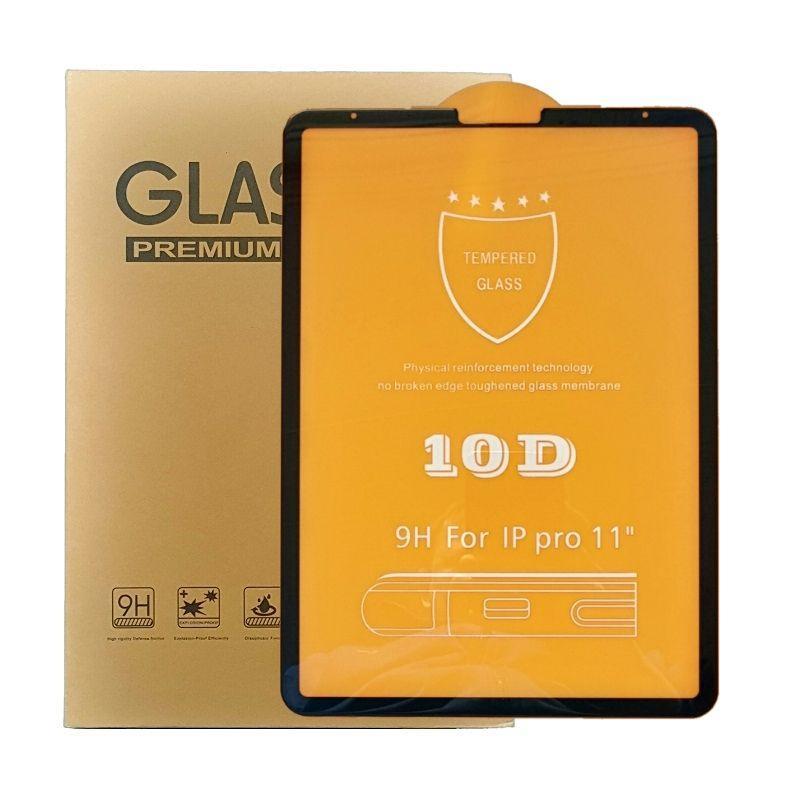 """Защитное стекло 10D для iPad Pro 11"""" черное"""