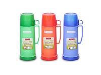 Термос 450 мл пластиковый со стеклянной колбой (1 чашка; синий, зеленый, красный) Kamille 2070