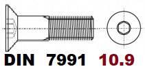 02.08 10.9 DIN 7991 (Гвинт з потайною головкою з Внутрішнім шестигранником)