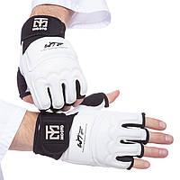 Перчатки для тхэквондо с фиксатором запястья MTO, PU, полиэстер, р-р S-XL, белый (BO-5078-W)