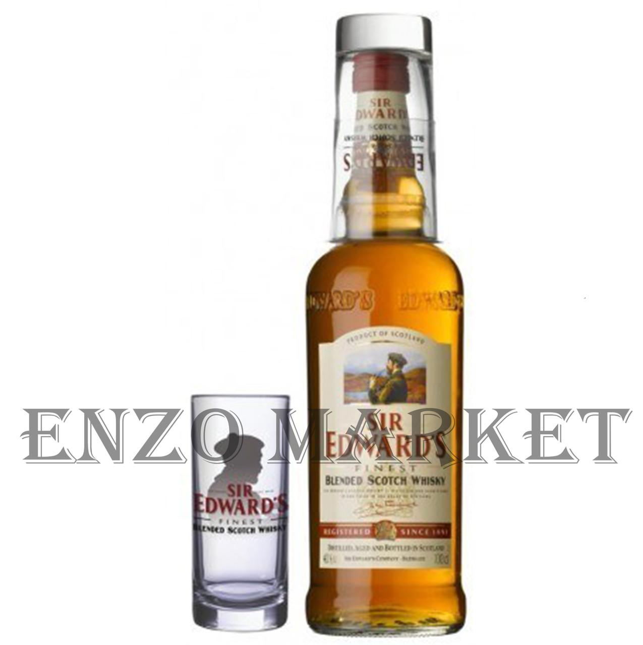 Виски Sir Edwards + Glass (Сир Эдвардс со стаканом) 40%, 1 литр
