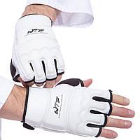 Перчатки для тхэквондо WTF, PU, полиэстер, р-р XS-XL, белый (BO-2016-W)