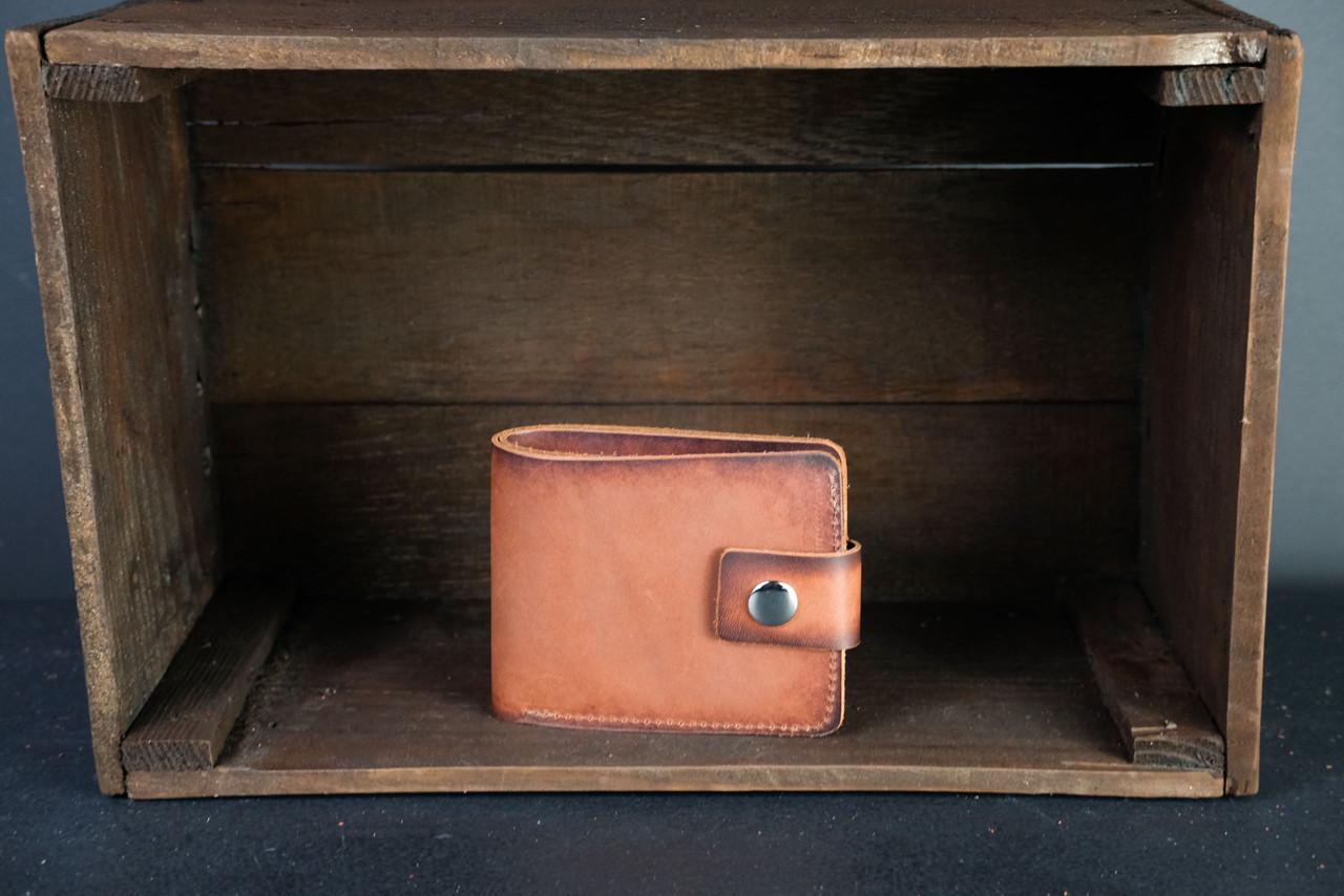 Портмоне класика з монетницею з застібкою шкіра Італійський Краст колір Коричневий