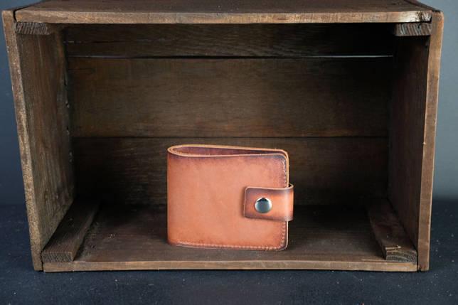 Портмоне класика з монетницею з застібкою шкіра Італійський Краст колір Коричневий, фото 2