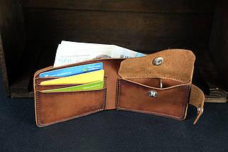 Классическое портмоне с монетницей с застежкой кожа Итальянский Краст цвет Коричневый, фото 2