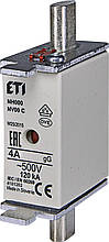 Предохранитель ETI NH-000 gL/gG 4A 500V KOMBI 120kA 4181202 ножевой универсальный (NH-00C)