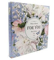 """Фотоальбом магнитный на 20 листов """"Цветы"""", цвет голубой,  размер: 29-28 см"""