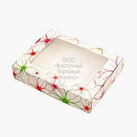 Упаковка для пряників з прозорим вікном - Яскраві квіти - 192х148х40 мм