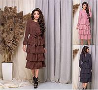 Р 42-46 Платье с рюшами в горошек, ниже колена 21059, фото 1
