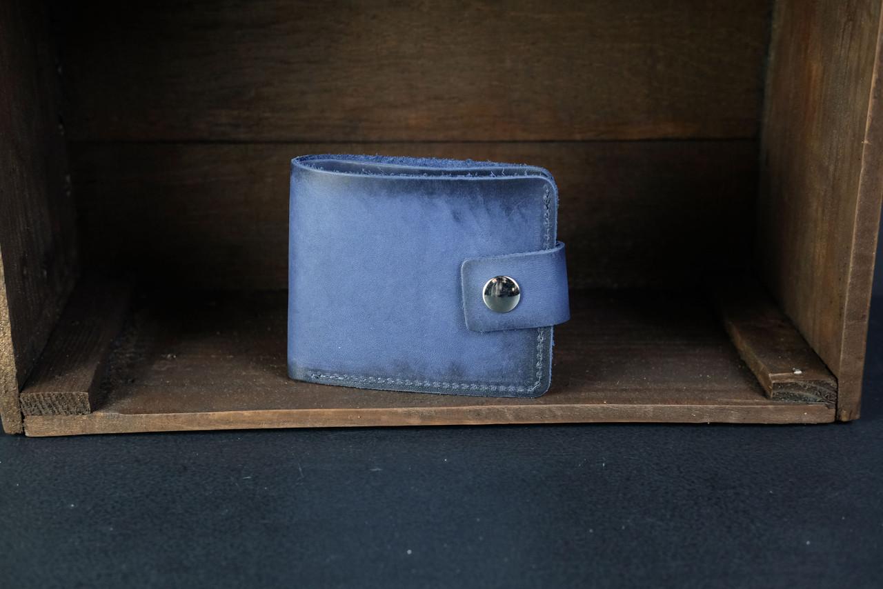 Портмоне классика с монетницей с застежкой кожа Итальянский Краст цвет Синий