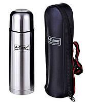 Термос питьевой 0,5 литра + кожаный чехол (нержавеющая сталь, одна чашка) А-Плюс