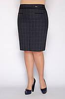 Серая деловая классическая батальная юбка в слетку с разрезами сзади и спереди р.46-56. Арт-1550/10