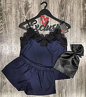 Пижама с кружевом майка+шорты 015 и атласная сумочка для хранения.