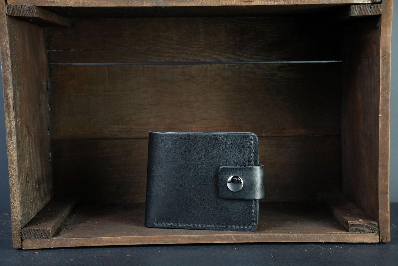 Классическое портмоне с монетницей с застежкой кожа Итальянский Краст цвет Черный