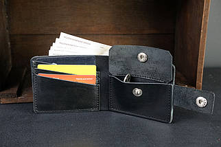 Классическое портмоне с монетницей с застежкой кожа Итальянский Краст цвет Черный, фото 2