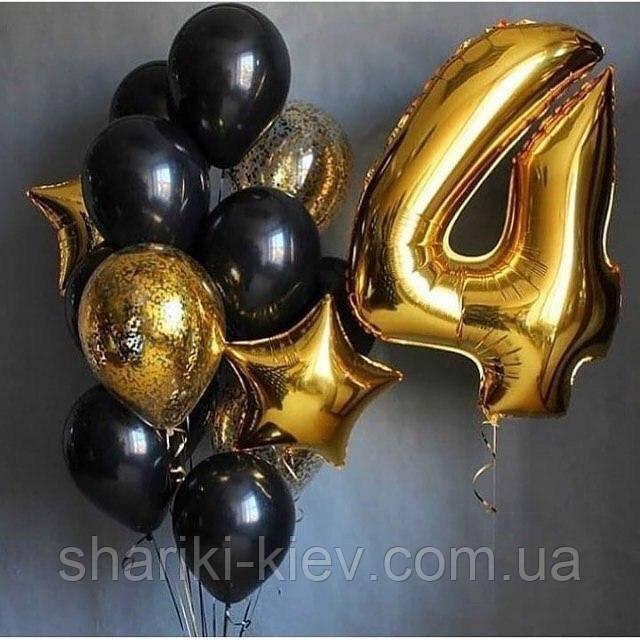 Праздничный набор на День Рождения с цифрой Золотой