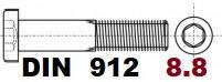 02.01 8.8 DIN 912 (Гвинт з циліндричною головкою і Внутрішнім шестигранником)