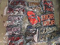 Нашивки джинсовые цветные  с надписями (20шт в упаковке)