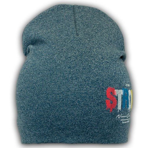 Двойная трикотажная шапка с принтом