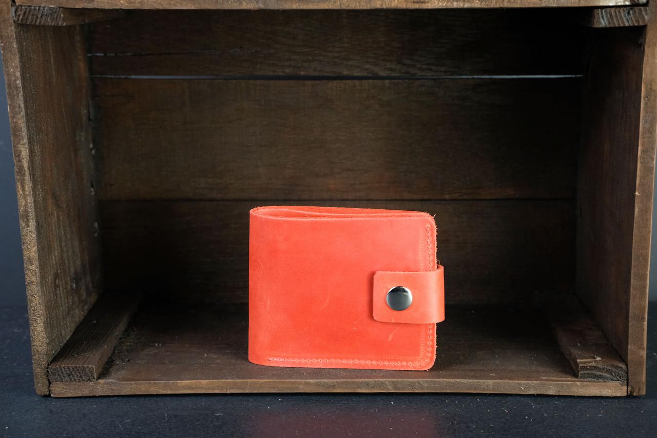 Классическое портмоне с монетницей с застежкой Винтажная кожа цвет Красный