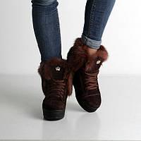 Модные женские зимние ботинки из коричневой замши