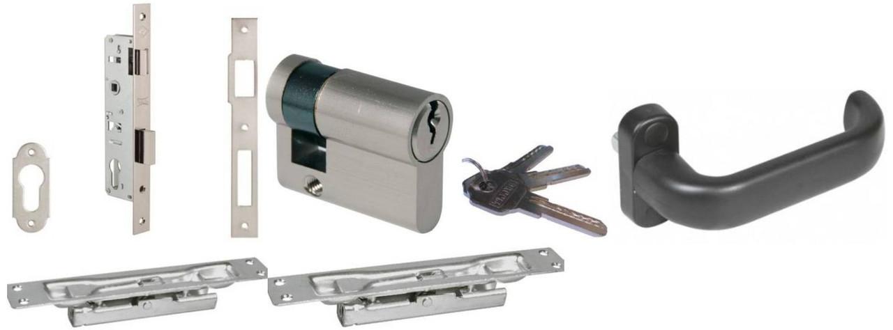 Комплект фурнитуры на двухстворчатые ставни (KALE) цилиндр + ручка