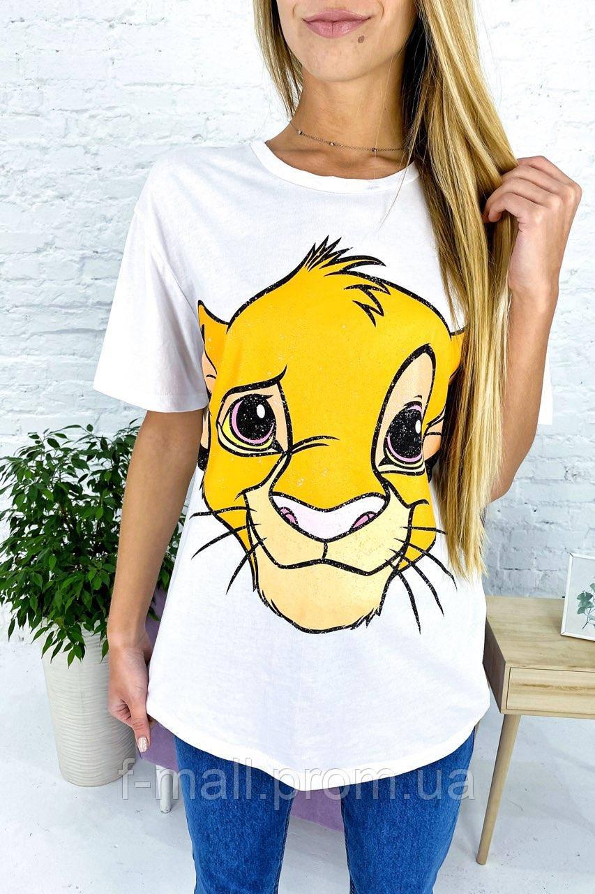 Хлопковая футболка с принтом Симба