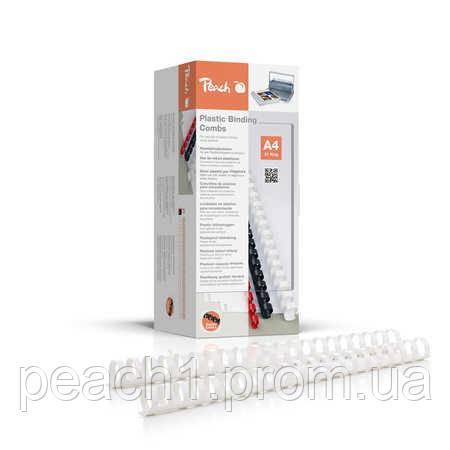 Набор пластиковых пружин для переплета/биндера Peach белый 22 мм 210 листов A4 (21 кольцо) 50 шт