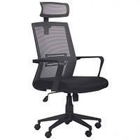 Кресло Neon HR сиденье Саванна Black 19/спинка Сетка серая